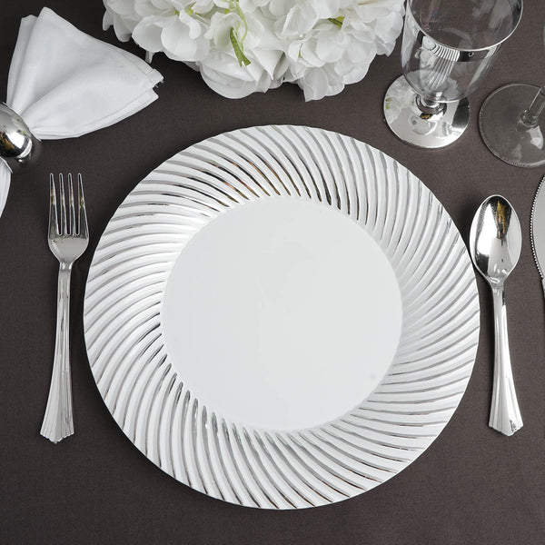 "10 Pack | 9"" White Round Disposable Plastic Dinner Plates With Silver Twirl Rim"