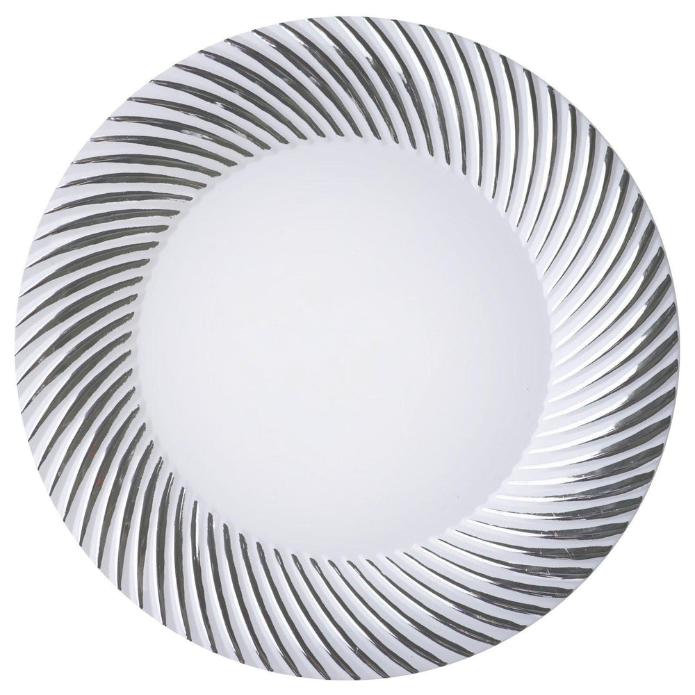 ... 10 Pack 10  White Disposable Round Dinner Plates With Silver Twirl ...  sc 1 st  Tablecloths Factory & 10 Pack 10