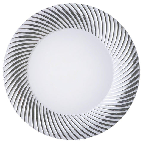 10 Pack 10\  White Disposable Round Dinner Plates With Silver Twirl Rim  sc 1 st  Tablecloths Factory & 10 Pack 10\