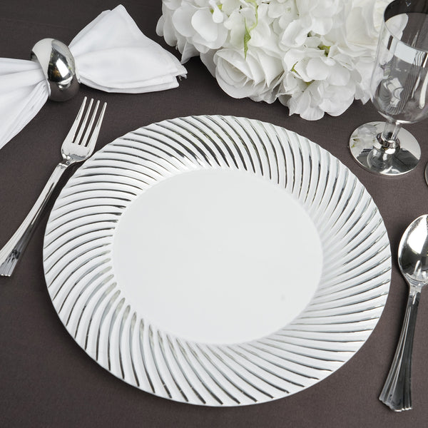 "10 Pack | 10"" White Round Disposable Plastic Dinner Plates With Silver Twirl Rim"