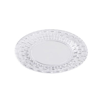 "10 Pack 6"" Clear Disposable Round Salad Dessert Plates With Basketweave Rim"