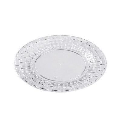 "10 Pack 7"" Clear Disposable Round Salad Dessert Plates With Basketweave Rim"