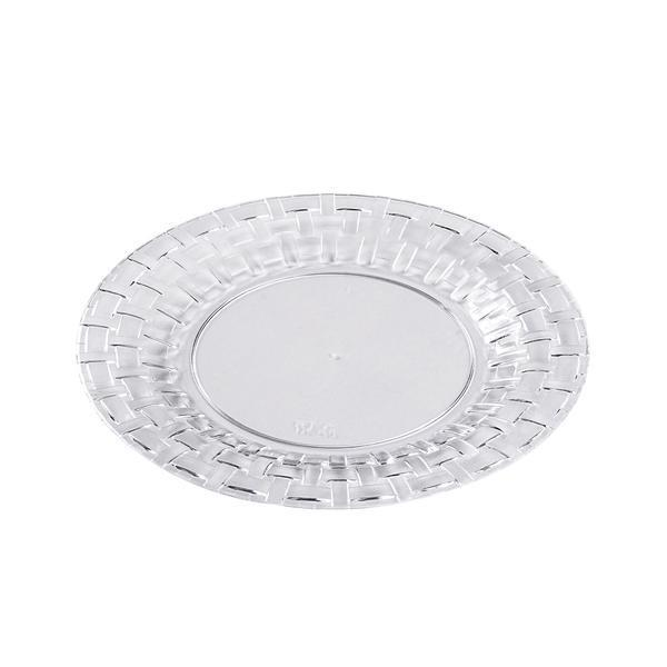 "10 Pack | 7"" Clear Round Disposable Plastic Salad Dessert Plates With Basketweave Rim"