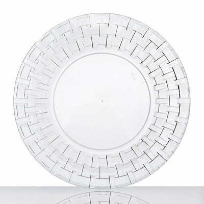 "10 Pack - Clear 9"" Round Disposable Plate - Basketweave Collection"