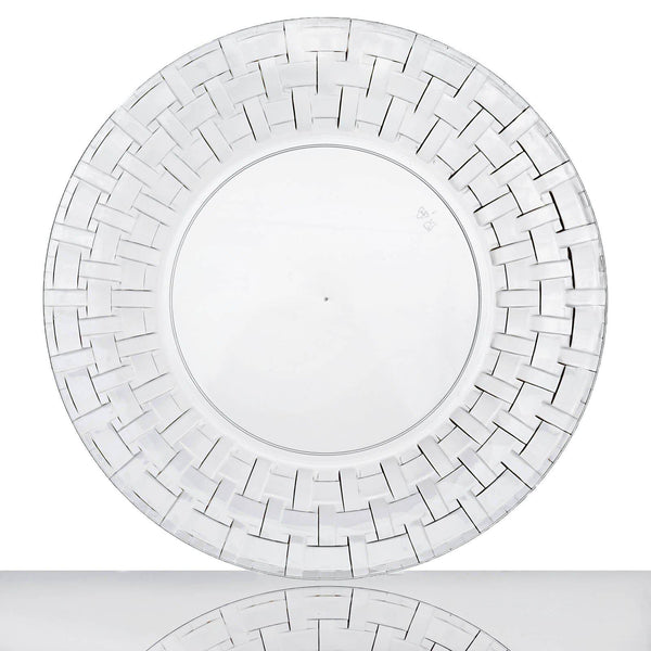 "10 Pack - 10"" Clear Round Disposable Plastic Dinner Plates With Basketweave Rim"