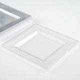 "10 Pack 7"" Clear Disposable Square Salad Dessert Plates With Honeycomb Edge"