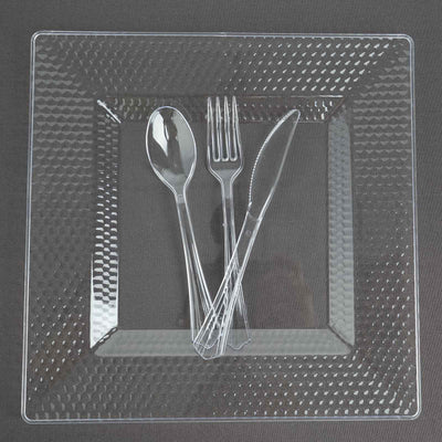 Square Dinner Plates With Honeycomb Edge, Clear Plastic Plates, Party Plates