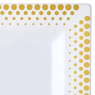 "10 Pack - White with Gold 6.5"" Square Disposable Plate - Hot Dots Collection"