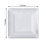 "10 Pack 7"" White Disposable Plastic Square Salad Dessert Plates With Silver Hot Dots Rim"
