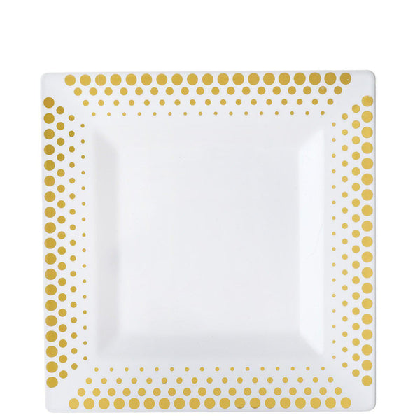 "10 Pack | 8"" White Disposable Plastic Square Salad Dessert Plates With Gold Hot Dots Rim"