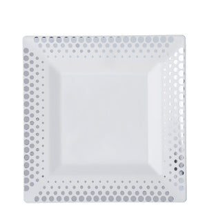 "10 Pack 8"" White Disposable Square Salad Dessert Plates With Silver Hot Dots Rim"