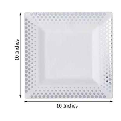"10 Pack 10"" White Disposable Plastic Square Dinner Plates With Silver Hot Dots Rim"