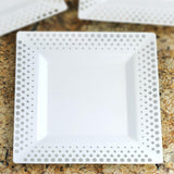 "10 Pack - White with Silver 9.5"" Square Disposable Plate - Hot Dots Collection"