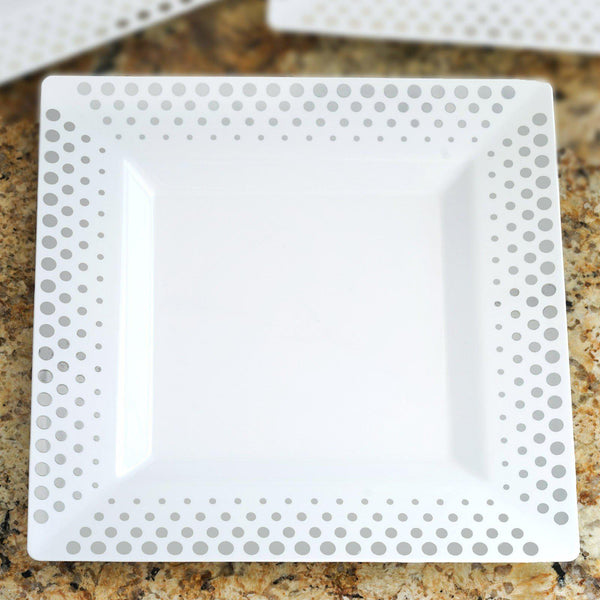 "10 Pack | 11"" White Disposable Plastic Square Dinner Plates With Silver Hot Dots Rim"