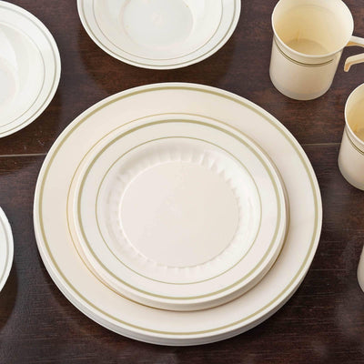 "12 Pack - Ivory with Gold 7.5"" Round Disposable Plate - Antique Collection"