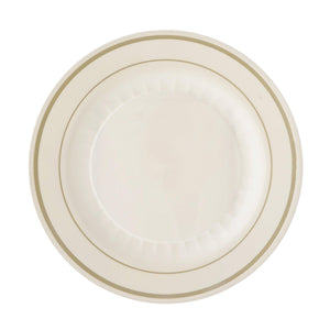 "12 Pack 8"" Ivory Disposable Round Salad Dessert Plates With Antique Gold Rim"