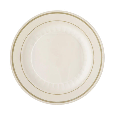 "12 Pack 8"" Ivory Disposable Flared Round Salad Dessert Plates With Antique Gold Rim"