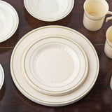 "12 Pack - Ivory with Gold 10.25"" Round Disposable Plate - Antique Collection"
