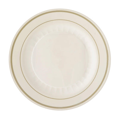 "12 Pack 10"" Ivory Disposable Round Dinner Plates With Antique Gold Rim"