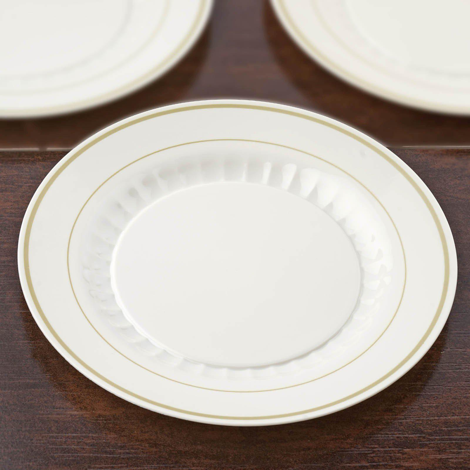 ... 12 Pack - Ivory with Gold 10.25  Round Disposable Plate - Antique Collection ... & 12 Pack 10