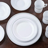 "12 Pack - White with Silver 10.25"" Round Disposable Plate - Antique Collection"