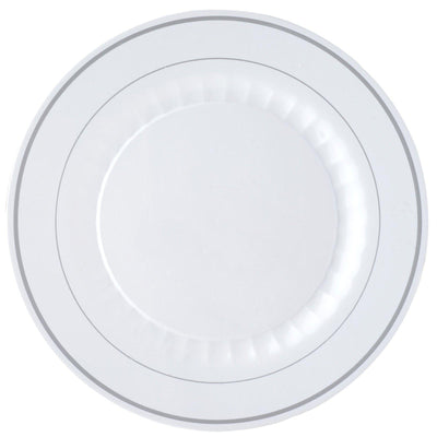 "12 Pack 10"" White Disposable Round Dinner Plates With Antique Silver Rim"