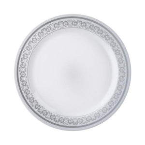 "10 Pack 8"" White Disposable Round  Salad Dessert Plates with Silver Design Rim"