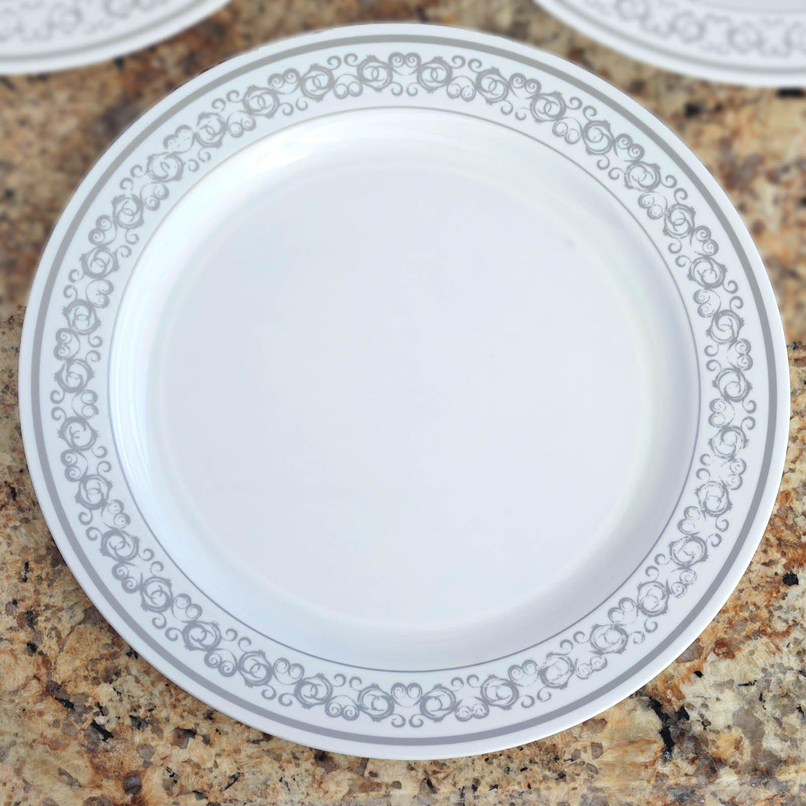 ... 10 Pack - White with Silver 10.25  Round Disposable Plate - Premiere Collection ... & 10 Pack 10