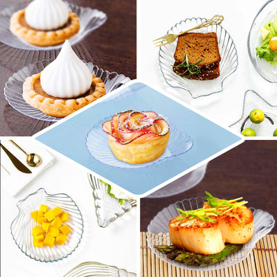 "Set of 24 - 4"" Clear Seashell Party Plates 