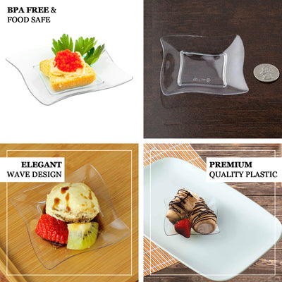 "24 Pack - 3"" Clear Disposable Plastic Square Mini Salad Dessert Plates With Wave Trimmed Rim"