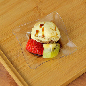 "24 Pack 3"" Clear Disposable Square Mini Salad Dessert Plates With Wave Trimmed Rim"