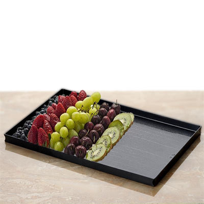 "4 Pack 11"" x 7"" Black Disposable Plastic Rectangular Serving Tray"
