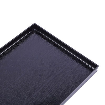 "4 Pack 23"" x 6"" Black Disposable Rectangular Serving Tray"