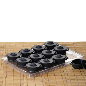 12 Pack 3oz Black Disposable Plastic Mini Cooking Pots With Dessert Display Tray