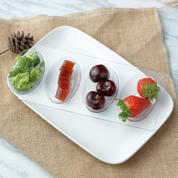 "12 Pack | 10"" Clear Disposable Plastic Quadruple Oval Salad Dessert Plates"