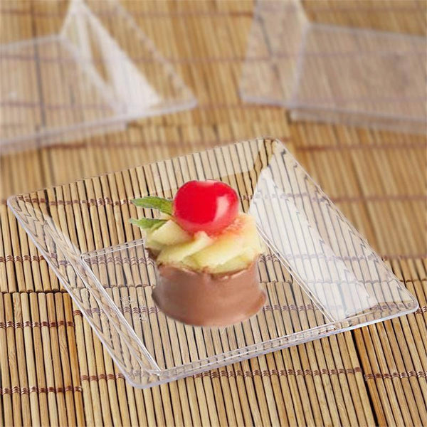"12 Pack | 4"" Clear Crystal Disposable Plastic Square Salad Dessert Plates"