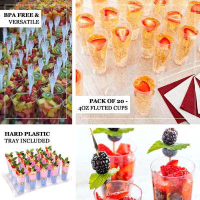 20 Pack 4oz Clear Disposable Plastic Fluted Cups With Dessert Display Tray