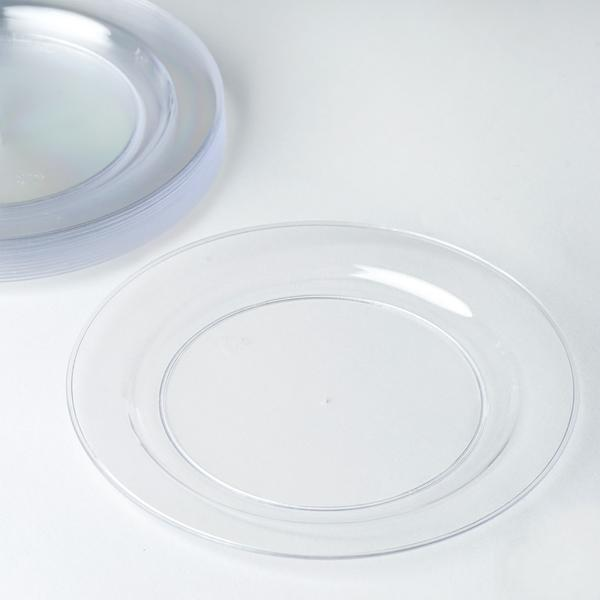 "40 Pack | 6"" Clear Crystal Disposable Plastic Round Salad Dessert Plates"