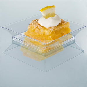 "10 Pack 4"" Clear Crystal Disposable Plastic Square Salad Dessert Plates"