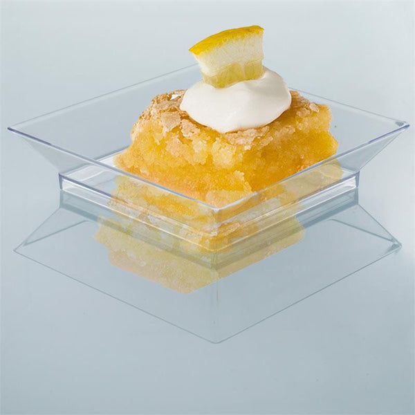 "10 Pack | 4"" Clear Crystal Disposable Plastic Square Salad Dessert Plates"