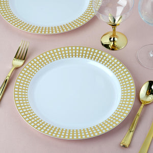 "10 Pack 9"" White Disposable Round Dinner Plates With Gold Hot Stamped Rim"