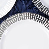 "10 Pack 9"" White Disposable Round Dinner Plates With Silver Hot Stamped Rim"