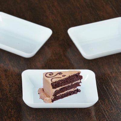 "20 Pack 3"" White Disposable Rectangular Salad Dessert Plates"