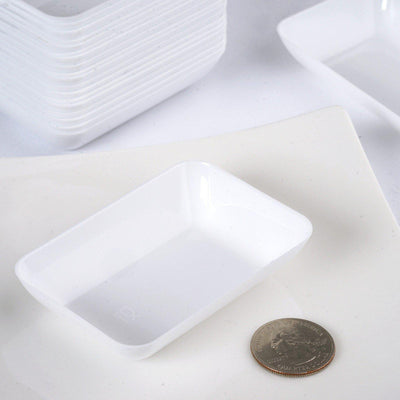 "20 Pack - White 2"" x 3"" Slick Rectangle Disposable Dessert Plate"