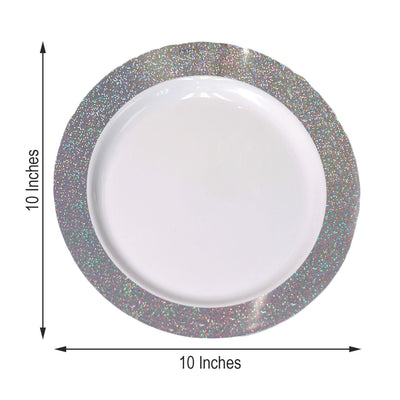 "12 Pack 10"" White Round Disposable Plastic Dinner Plates With Shiny Silver Dust Rim"