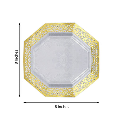 Octagonal Salad Dessert Plates, Disposable Plates, Heavy Duty Plastic Plates