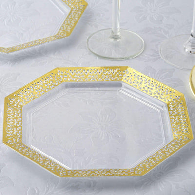 "12 Pack 8"" Clear Disposable Octagonal Salad Dessert Plates With Gold Lace Rim"