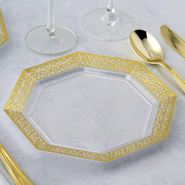 "12 Pack | 8"" Clear Disposable Plastic Octagonal Salad Dessert Plates With Gold Lace Rim"