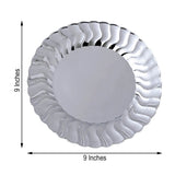 12 Pack 9 inch Silver Flared Round Disposable Plastic Dinner Plates