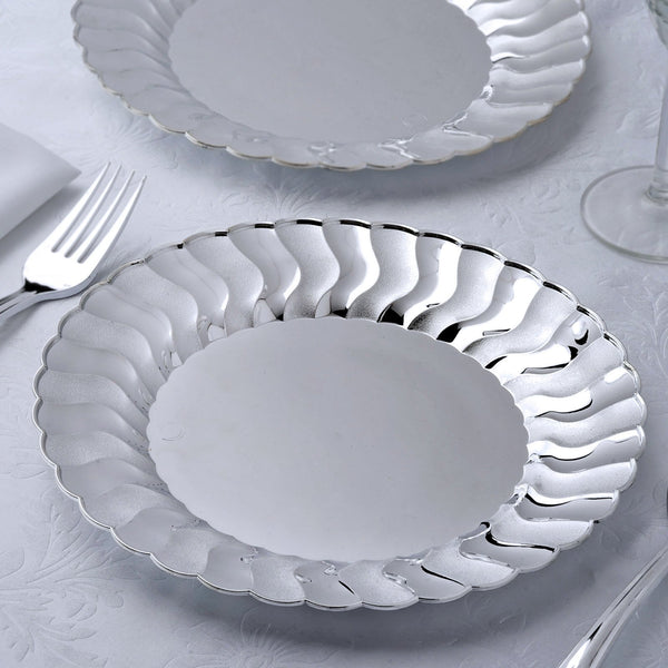 "12 Pack 9"" Silver Flared Round Disposable Plastic Dinner Plates"